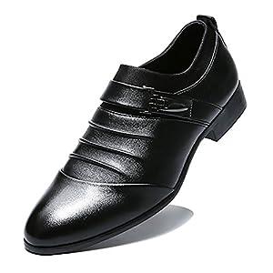 Blivener Men's Dress Shoes Formal Oxford Wedding Slip on Shoes