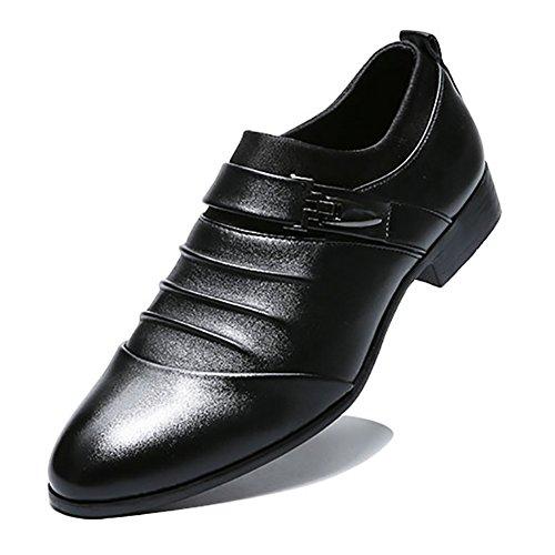 Blivener Men's Oxford Wedding Shoes Formal Slip on Dress Shoes Black US 8 by Blivener