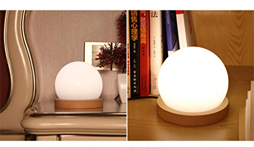 lotus.flower Creative LED Ball lamp Wooden Base USB Adjustable Brightness Color Room Decorate (Yellow) by Lotus.flower (Image #5)