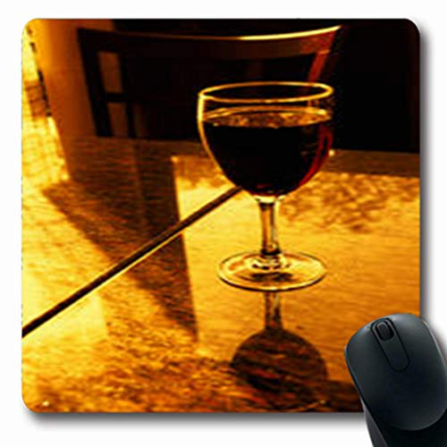 (Pandarllin Mousepads Urban Glass Wine On Marble Romantic Table Parisian Food Drink Oblong Shape 7.9 x 9.5 Inches Oblong Gaming Mouse Pad Non-Slip Rubber Mat)