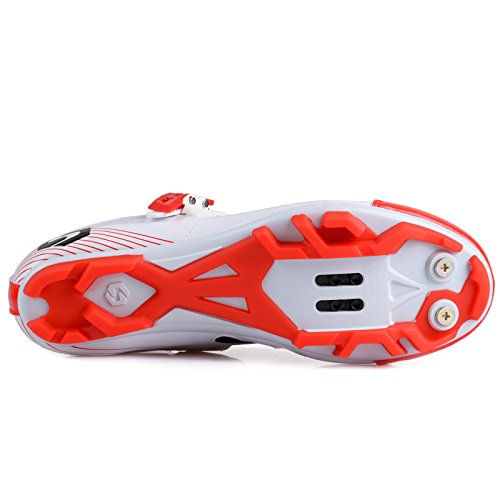 Smartodoors Fahrradschuhe mit Carbon Sohlen oder Nylon Tpu Sohlen für Straße und MTB Weiß / Rot B für MTB