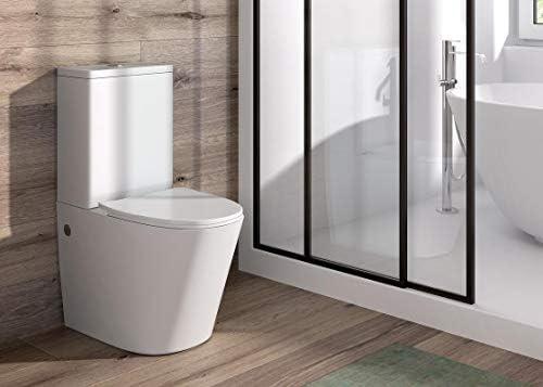 Pack WC de Inodoro Round compacto adosado a la pared con salida dual y sistema rimless: Amazon.es: Bricolaje y herramientas
