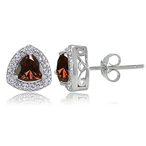 Necklace Trillion Garnet (Sterling Silver Genuine Garnet & White Topaz Trillion-Cut Stud Earrings)