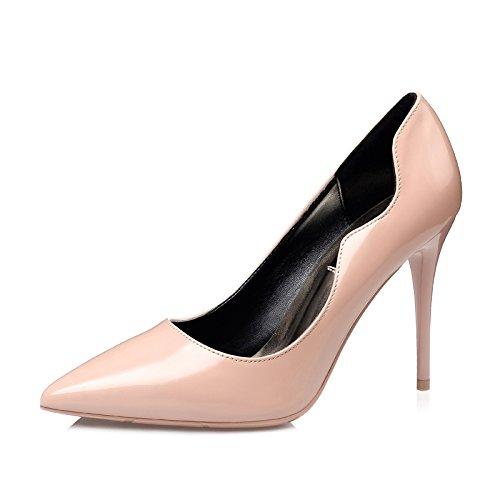 YMFIE Moda Elegante Simple 1 con Laca señaló Zapatos de tacón señoras Solo Zapatos Zapatos de Trabajo. Apricot color