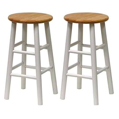 (Winsome Wood 24-Inch Beveled Seat Barstool with Natural and White Finish, Set of)
