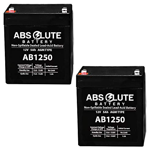 - 2 Pack New AB1250 12V 5AH SLA Replacement Battery for Tandy/Radio Shack 23-289A