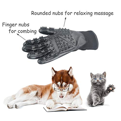 CICINY Pet Grooming Gloves for Cats and Dogs Bathing Massage, Horse Hair Removal Shedding Glove with Gentle Cleaning Brushes Kits (XL) by CICINY (Image #4)