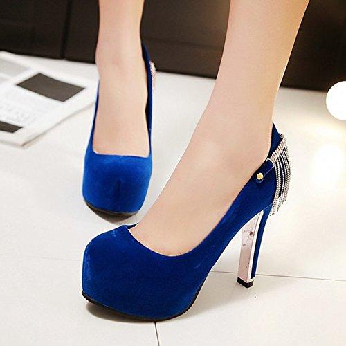 Haut Style Talon Khskx Tide Le Et À De Américaine Blue Européenne Femmes Forage Nouveau Les Étanches Coréen le Talons Chaussures RqqxfE8tw