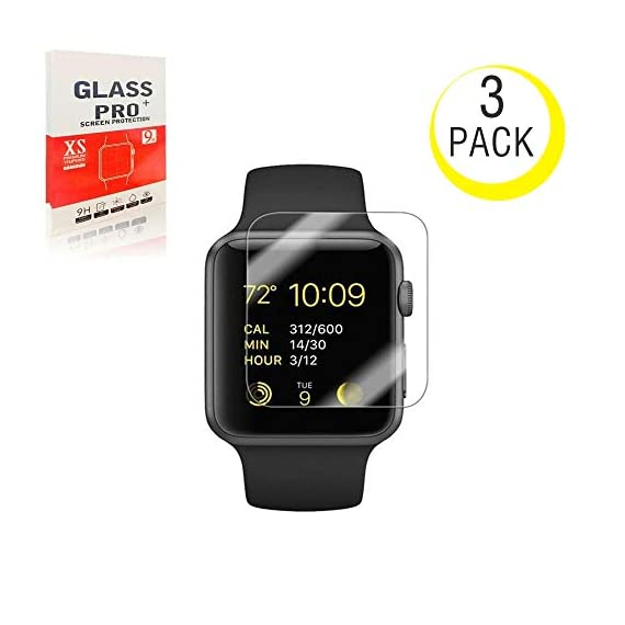 - 41iPQZWAxvL - [3-Pack] for Apple Watch 42mm Tempered Glass Screen Protector,Ant splust [9H Hardness][Anti-Scratch][Bubble Free] HD Clear Screen Protector Compatible Watch 42mm Series 1/2/3