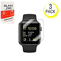 (3Pack) For Apple Watch Screen Protector 42mm, NiceFuse For Apple Watch Tempered Glass Screen Protector, Anti-Scratch Scratch Resistant Scratch-proof Screen Film for Apple iWatch 42mm Series 1/2/3