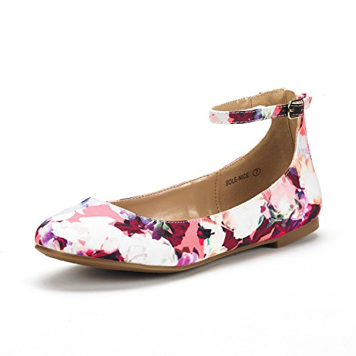 DREAM PAIRS Women's Sole-Nice Ankle Strap Walking Flats Shoes Floral