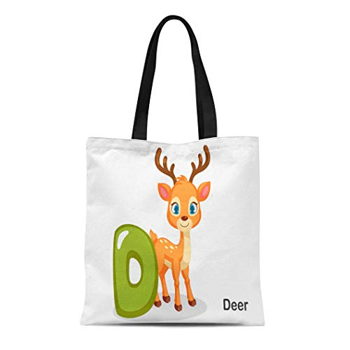 Semtomn Cotton Canvas Tote Bag Colorful Abc D for Deer Cute Alphabet Animal Beautiful Reusable Shoulder Grocery Shopping Bags Handbag Printed