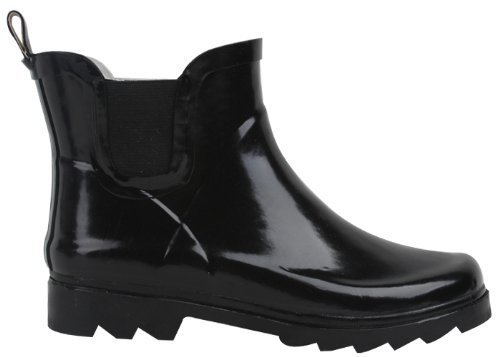 "SunVille Women's Ankle High (6"" Shaft Height) Rain Boot Black"