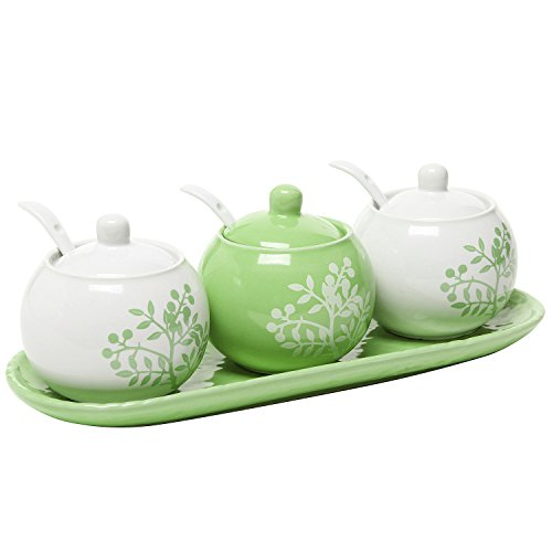 Set of 3 Lime Green & White Ceramic Floral Tree Motif Spice Jars, Condiment Pots w/Serving Spoons, Tray