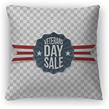 """Gear New Throw Pillow Accent Decor, Veterans Day Sale Festive Emblem With Ribbon, 20"""" Cover Only, 6599812GN"""