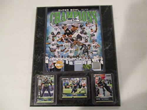 SEATTLE SEAHAWKS SUPER BOWL CHAMPIONS LIMITED EDITION PHOTO PLUS 3 CARDS RUSSELL WILSON * RICHARD SHERMAN * EARL THOMAS * MOUNTED ON A