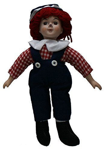 Standing Porcelain 11 Inches Boy Doll, Head and Hand Porcelain. With Sweet Calico Outfits and Vibrant Red Yarn Locks