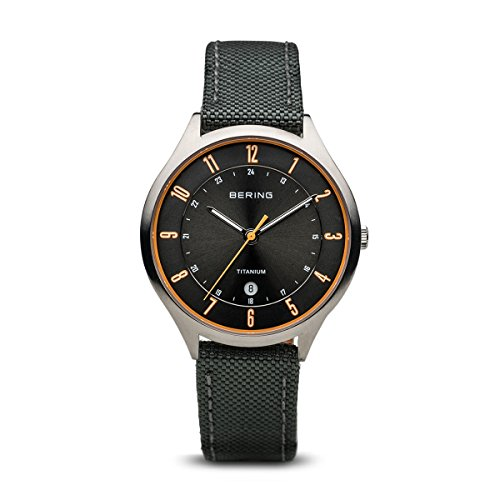 BERING Time 11739-879 Men Titanium Collection Watch with Nylon Strap and scratch resistent sapphire crystal. Designed in Denmark