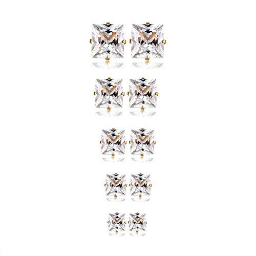 - Herinos Titanium Stud Earrings Set Cubic Zirconia 5 Pairs Stainless Steel Square Gold Earrings for Women Girls