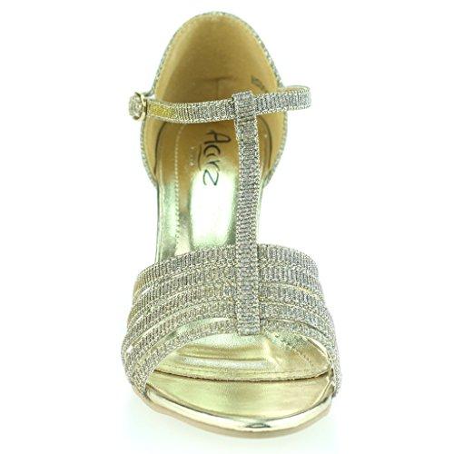Tin Soirée De Toe Mi Mesdames Sandales Slim Taille Talons T Bar Chaussures Mariage Ouvert Bal AC6qwF