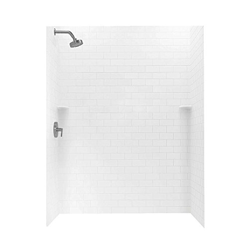 Swan STMK723662.010 36-in L x 62-in W x 72.5-in H Solid Surface Shower Wall Kit, White