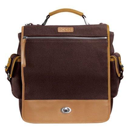 Bodhi Handbags Mens Vintage Army Canvas Leather Trim Laptop Bag Brown L