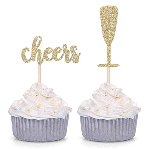 - Pack of 24 Gold Glitter Cheers and Champagne Glasses Cupcake Toppers for Baby Shower Wedding Engagement Celerating Party Decorations