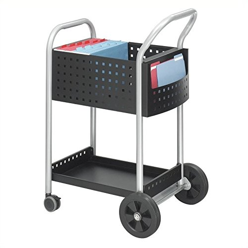 Safco Products Scoot Legal Size Mail Cart 5238BL Black, Swivel -