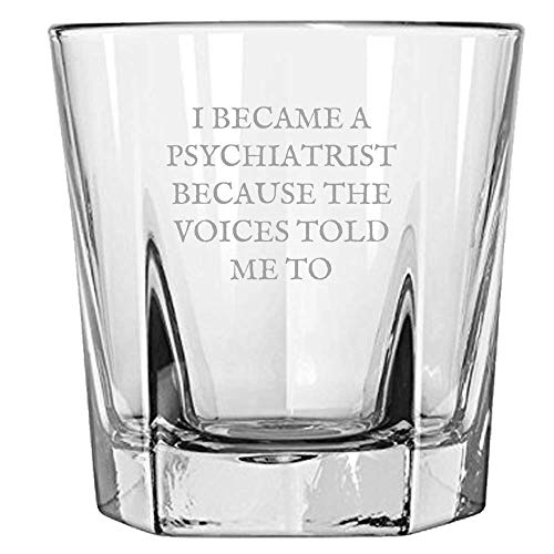 (Funny Psychiatrist Rocks Glass - Psychiatrist Gift Idea - Because The Voices Told Me So - Psychiatrist Whiskey Tumbler)