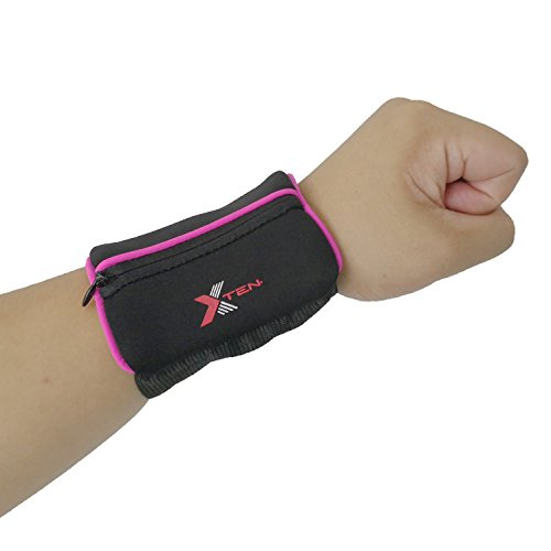xten Sports Wristband Wallet – Waterproof, Lesport Sweatband with Zipper Pocket in Colors for Running, Walking, Basketball, Cycling, Tennis, Hiking, Cross-Fit & More – Thick & Comfy - Ankle Tracke