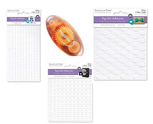 Scrapbook Bundle - 3 Styles Adhesive Pop Dots + 13 ft Double Sided Tape Runner (Foam Adhesive Dual Round)