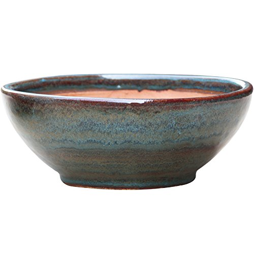 allen + roth 13-in W x 5.7-in H Blue/Gray Ceramic Low Bowl Planter - Glazed Earthenware Planters