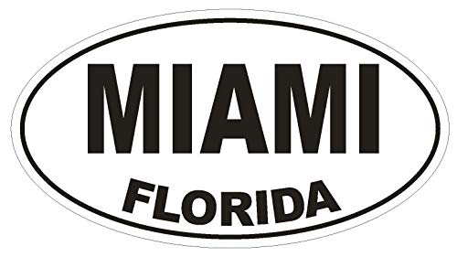 "Miami Florida Oval Vinyl Bumper Sticker Decal D1329 Euro Oval 5"""
