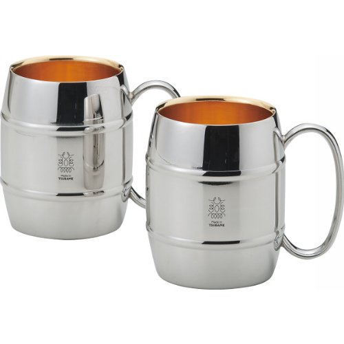 ZEI Pair stainless steel mug cup (double structure, inner face 24-karat gold-plated finish)  JAPAN import