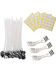 PTFNY 6 inch Candle Wick Bundle 100 Pcs Candle Wicks,100 Pcs Stickers and 3 Pcs Wick Holders,Low Smoke&Natural, for Candle Making