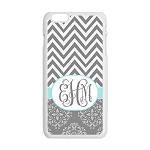 Gray Chevron Zigzags & Vintage European Pattern Damask Print Style Monogram Or Name Personalized Custom Best Plastic Hard Case for iPhone6 Plus (Only for 5.5 inches) ,Black or White for Choice