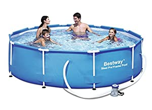 bestway 10 ft steel pro frame pool with 330 gal pump garden outdoors. Black Bedroom Furniture Sets. Home Design Ideas