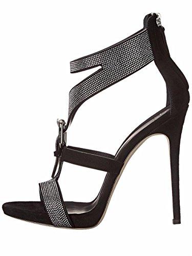 Mujeres Estilete Alto Tacón Sandalias Diamante Tobillo Correa Boda Club Paseo Fiesta Zapatos Negro Blanco Grande tamaño 35-45 Black