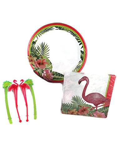 Palm Beach Flamingo Party Supply Bundle for 16 Guests - Includes Plates, Napkins and Stir Sticks
