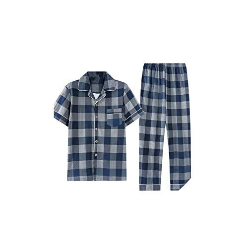 Pajamas Summer Pajamas Cotton Men Pajama Sets Cardigan Soft Pyjamas Short Shirts+Long Pants,Dark Grey,XXXL