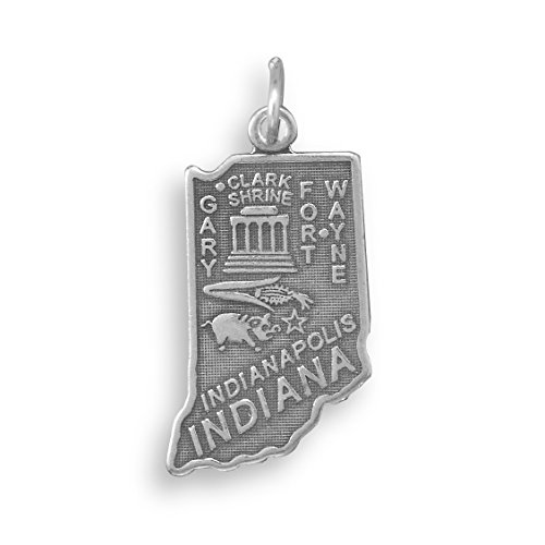 (Welcome To Hoosier State! Oxidized Sterling Silver Indiana State Charm 13.5mm X)