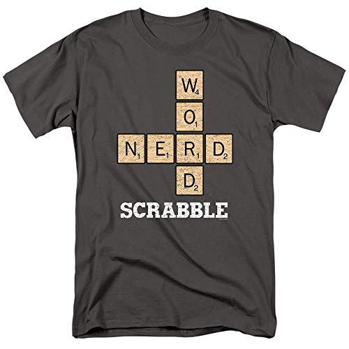 (Scrabble Word Nerd Unisex Adult T Shirt for Men and Women, Medium Charcoal)