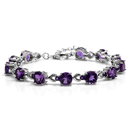 15.12ct. Natural African Amethyst White Gold Plated 925 Sterling Silver 7-8.5