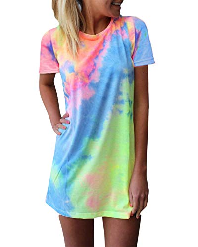 ZANZEA Women's Short Sleeve T Shirt Dress Tie-dye Floral Print Round Neck Mini Dress Colorful2 6