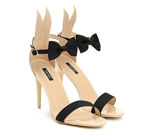 VICES selection design Alice Bunny High Heel Sandal - Beige, Black, Pink (US 6/EU 36, (Playboy : Womens Shoes)