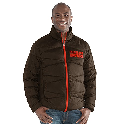G-III Sports NFL Cleveland Browns The Blitz Full Zip Packable Jacket, Large, Brown