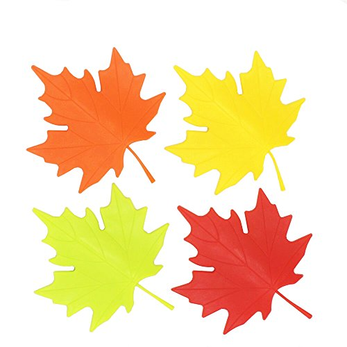 Garden Door Stop (TANG SONG Maple Leaf Door Stop Plastic Colorful Cartoon Stopper Wedge Finger Protector Door Stops set For Home Garden Office (Pack of 4,Yellow Red Orange And Green))