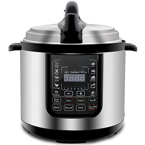 ZENY 6 Quart 7-in-1 Multi-Functional Programmable Pressure Cooker, Slow Cooker, Rice Cooker, Steamer, Sauté, Yogurt Maker and Warmer, Full Accessories Included, Stainless Steel