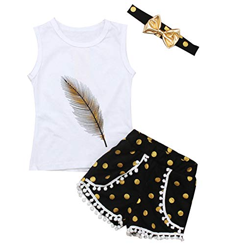 (3Pcs/Set Toddler Kid Baby Girl Clothes Summer Outfits Feather Sleeveless Tank Top+Polka Dots Tassels Shorts with Headband)
