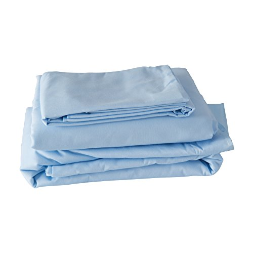 Hospital Bed Sheets, Fitted Hospital Mattress Sheet Set, Includes Top Sheet and Pillow Case, Cotton Polyester Bedding Linens, 36 x 80 x 6 Inches, Blue